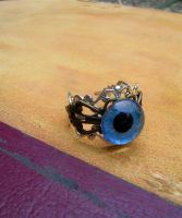 Ring - Sky Blue Dragon Eye - Steampunk 2 by LadyPirotessa