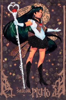 Sailor Pluto Papercut by taintedsilence