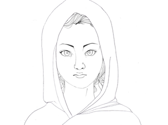 girl from india lineart by Rijio