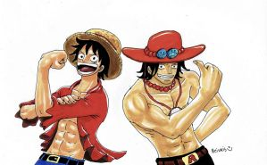 luffy and ace by heivais