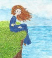 Merida on the cliff by Xijalle