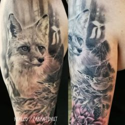 Fox and birds tattoo by tuomaskoivurinne
