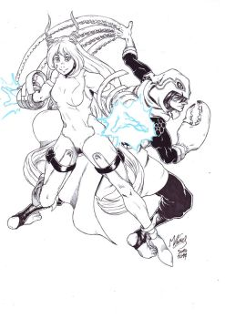 Inktober 30: Nejire-chan and Suneater by Manu-G