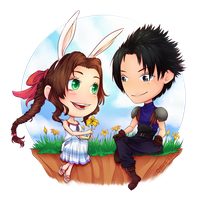 COM: Aerith and Zack by Odire-san