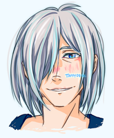 Victor with Yurio's hairstyle by TaffyDesu