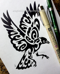 Red-Winged Blackbird - Tribal Design by WildSpiritWolf