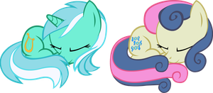 Slepping - Lyra and Bon Bon by Doctor-G