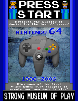 Press Play - Video Game Museum Poster (N64) by S3NTRYdesigns