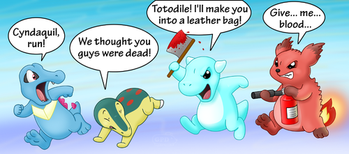 Revenge of the Lost Johto Starters by GuineaPigDan