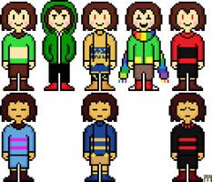Some Chara's and Frisk's by flambeworm370