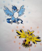 Articuno and Zapdos by chikadee34