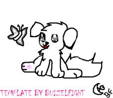 Puppy with butterfly template by buizelfight