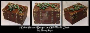 Ooak Polymer Clay Green Dragon on Old World style by Tpryce