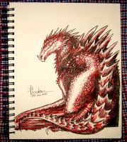 Inktober Day 3: Red Wyvern by aviagua