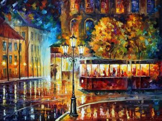 Night Trolley by Leonid Afremov by Leonidafremov