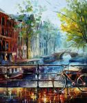 Bicycle in Amsterdam by Leonid Afremov by Leonidafremov