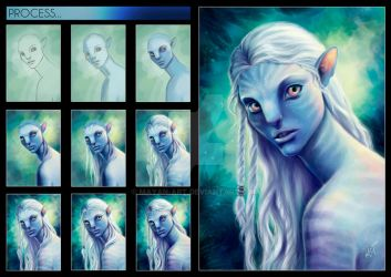Process - Albino Na'vi by mayan-art