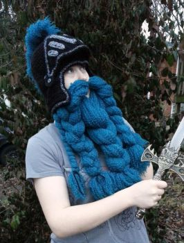 Knight helm with blue beard by Drgibbs
