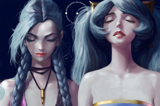 Jinx and Sona fan art commission 1 by whiskypaint
