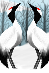 Red Crowned Cranes by Radioactive-Wolf