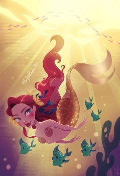 Mermaid Swimming Down by DylanBonner