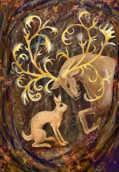 Elk and Hare by balnacra