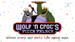 Wolf 'N Croc's Pizza Palace Logo by RetroUniverseArt