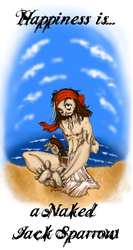 Happines is naked Jack Sparrow by caycowa