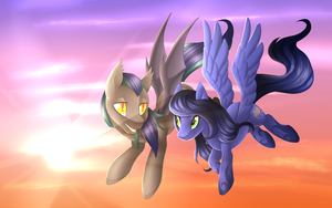 A Flight at Sunset [C] by Scarlet-Spectrum