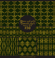 Papers pack #30 - Green and gold damask paper by lune-blanche