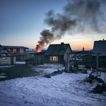 fire in the wooden-house village by 8moments