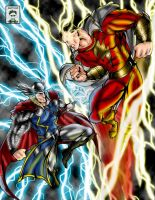 Thor vs Cap Marvel colored by ssejllenrad2