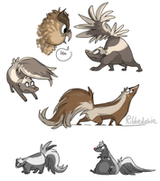 A bunch of cartoony skunks by Ribbedebie