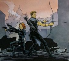 more Black Widow and Hawkeye fanart by astridv