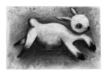 Lamb Charcoal Drawing copyright 2014 by scottbotfieldart