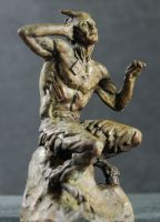 small bronze Pan With His iPod by AdamReederSculptor