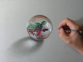 Marble or glass ball DRAWING by marcellobarenghi