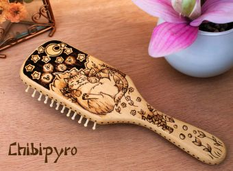 Wooden hairbrush kitty in the forest by ChibiPyro