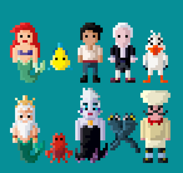 Disney's The Little Mermaid Characters 8 Bit by LustriousCharming