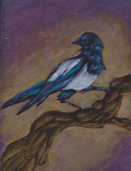 Magpie painted on a roof slate by Somnusvorus