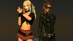 HARLEY QUINN and CATWOMAN by Davian-Art