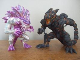 Krystalak and Obsidius Sculptures - Godzilla by AWMStudioProductions