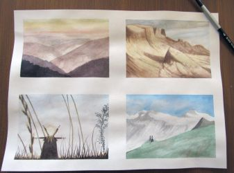 Watercolor landscape thumbs by AsjJohnson