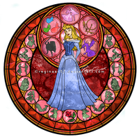Princess Aurora - Kingdom Hearts Stain Glass by reginaac57