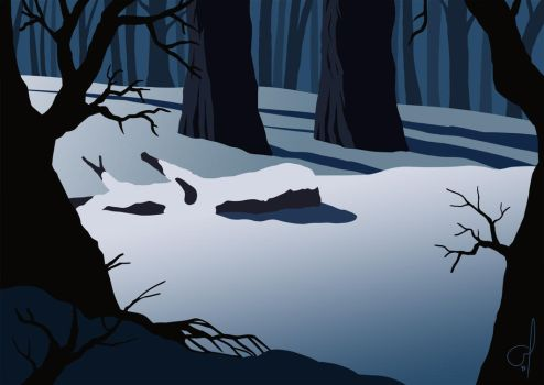 Snowy Forest by OGARart