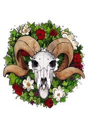Inktober 2017 9: Goat skull and Rose Wreath by MalteseLizzieMcGee