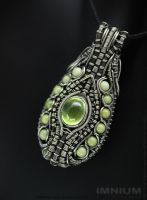 Prehnite and jade pendant by IMNIUM