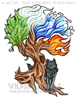 Elemental Tree And Wolf Tattoo by WildSpiritWolf