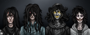 Creepypasta - Long Black Hair Squad by Chisai-Yokai