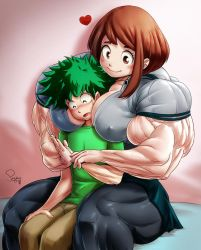 Ochako and Deku - Commission by Pegius by Yuichichibi